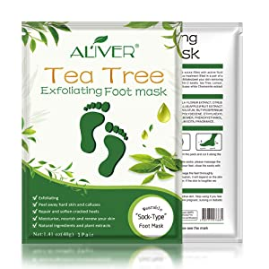 3 Pack Tea Tree Foot Peel Mask, Exfoliating Callus Remover, Soft Foot Removes Calluses and Dead Skin Cells, Repair Rough Heels-Make Your Feet Baby Soft for Women & Men (3pcs tea tree foot mask) (Tea tree)
