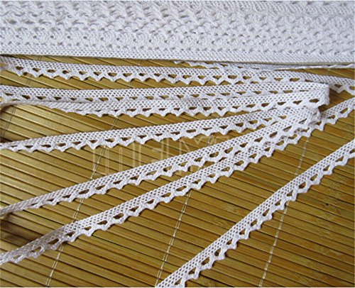 White Cotton Cluny Lace - 5 Meters Cotton Crochet Cluny Lace Edge Trim Ribbon 1 cm Width Vintage White Edging Trimmings Fabric Embroidered Applique Sewing Craft Wedding Dress Embellishment DIY Cards Clothes Hats Decor