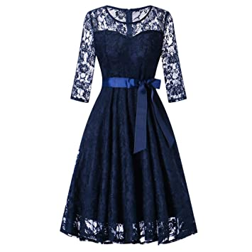 Sexy Evening Dresses for Women Loose Sexy Dress Ladies Lace Round Neck Long Sleeves and Large