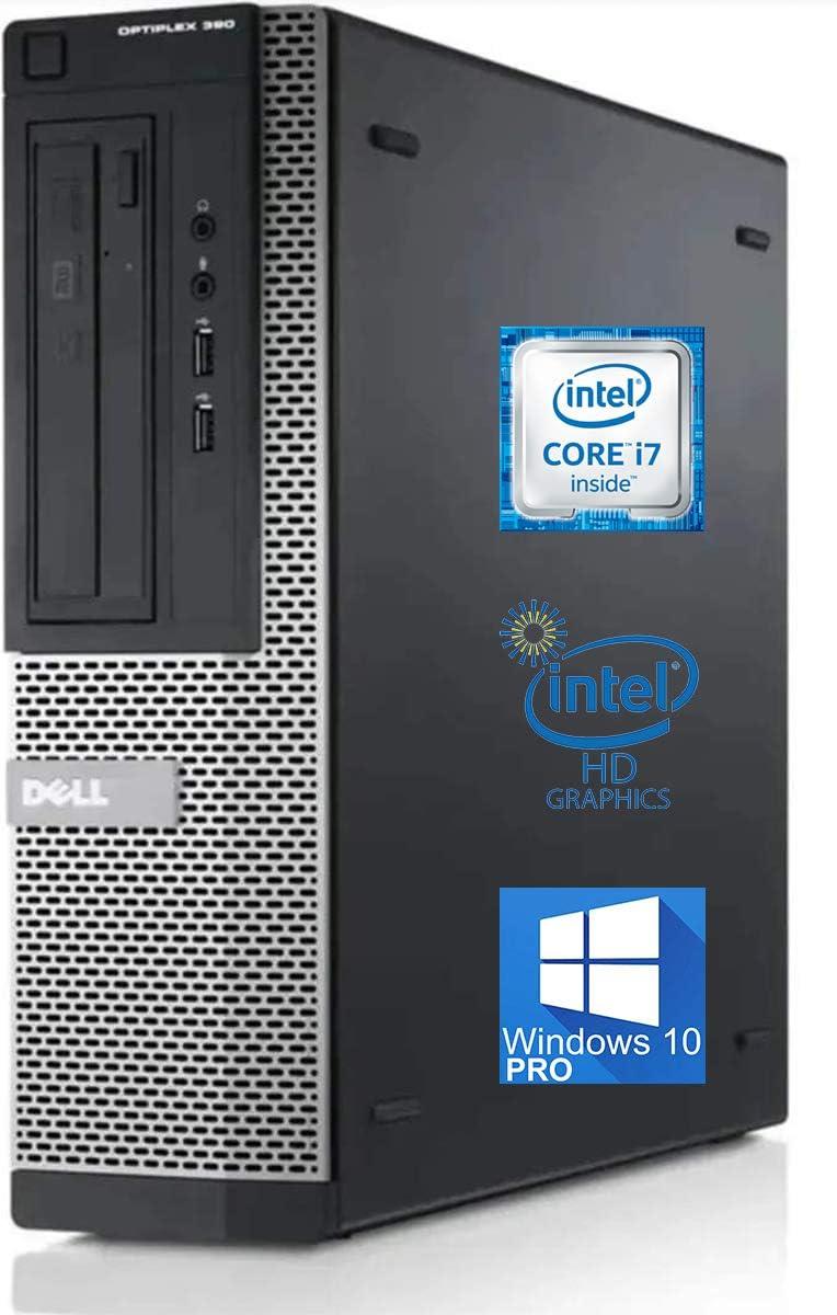Dell Optiplex 390 Desktop Computer, Intel i7-2600 Upto 3.8GHz, 16GB RAM, 256GB SSD, VGA, HDMI, DVD, AC Wi-Fi, Bluetooth - Windows 10 Pro (RENEWED)