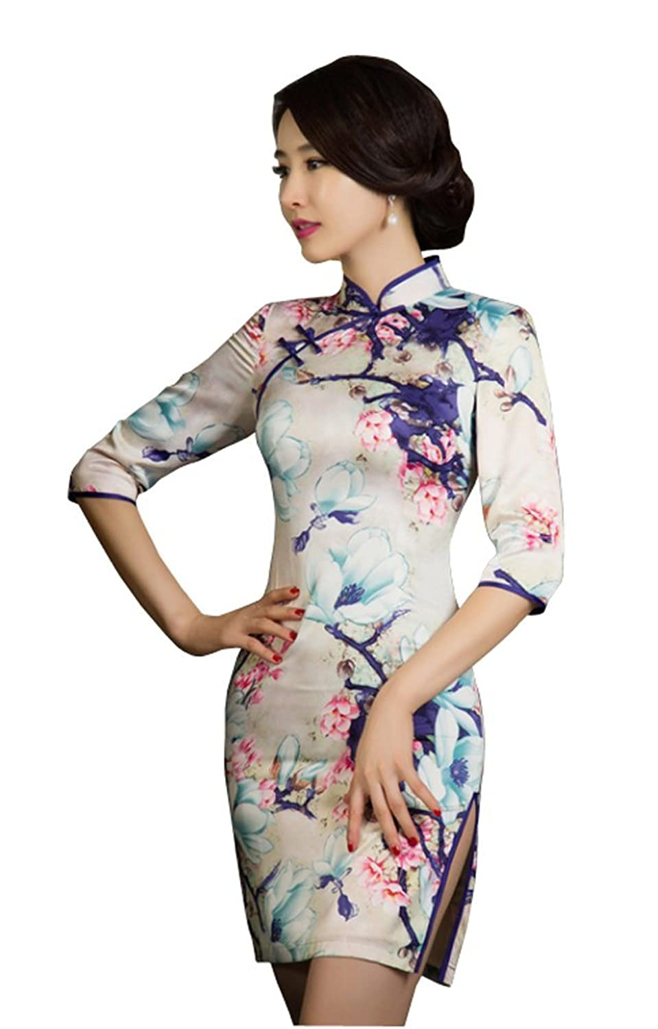Angcoco Women's Half Sleeve Chinese Traditional Mini Cheongsam Dress