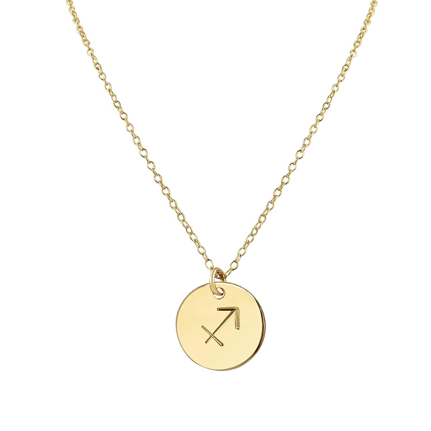 Gold Pendant Necklace Gift for Her Hammered Charm Necklace Gold Stamp Necklace Layering Necklace