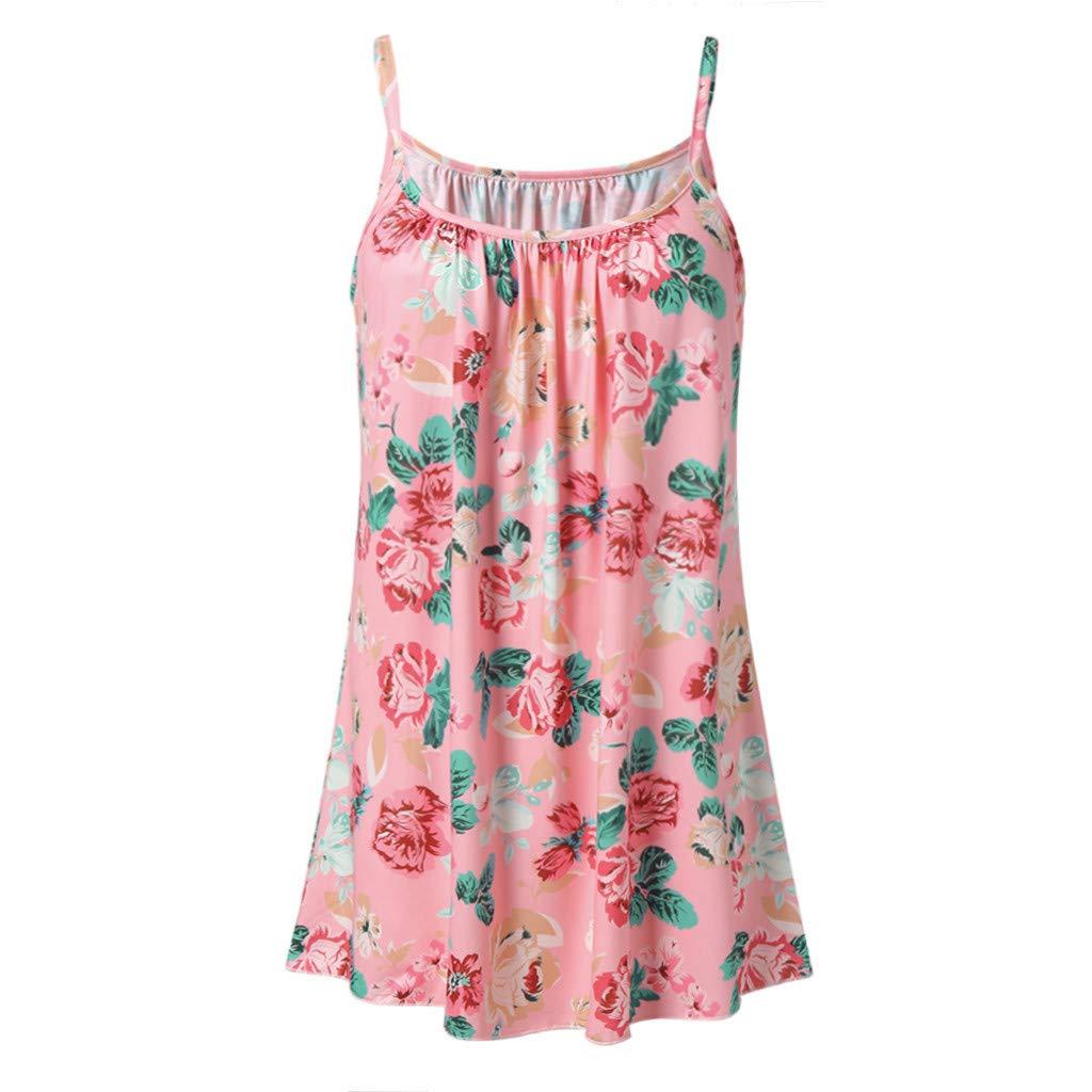 Severkill Womens Handkerchief Hem Flowy Top Casual Summer Floral Multicolor Spaghetti Strap Camisoles Tank