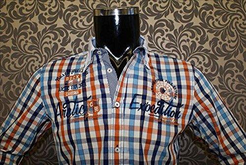 Designer El Berlin | Carisma Orange Crm8093 Blau Kariert Weiss Designer Hemd 8qaqzb