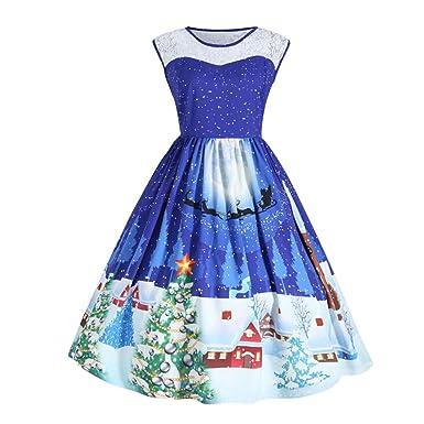 Kleider YunYoud Damen Weihnachten Kleid 3D Drucken Party Kleid Große ...