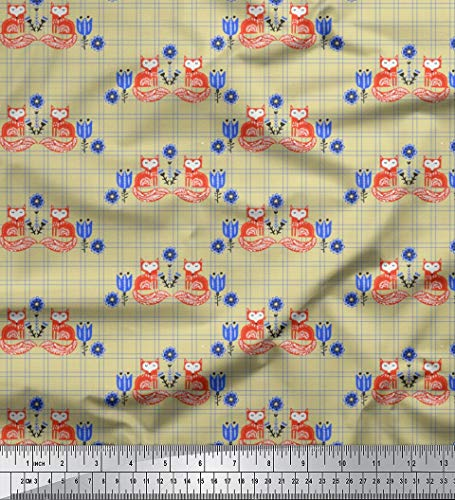 - Soimoi Beige Cotton Voile Fabric Check & Fox Folk Art Fabric Prints by Yard 42 Inch Wide