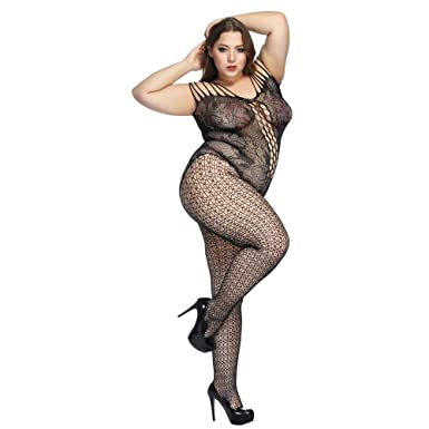 052a9f3186a Deksias Fishnet Bodystocking Plus Size Crotchless Bodysuit Lingerie for  Women (one Size