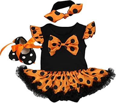 UK Toddler Baby Girls Pumpkin Halloween Costume Romper Tulle Dress Party Clothes