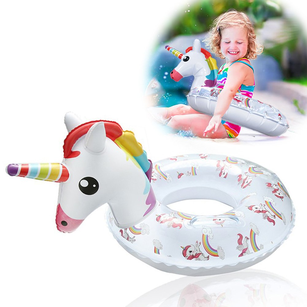 Kiddy Inflatable Unicorn Pool Float - Kids Pool Floats Swim Ring with Safe Handle Water Fun Summer Beach Toys for 3+ Years Old