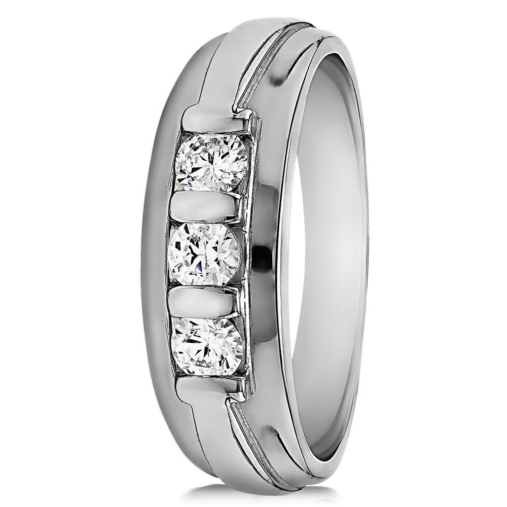 Size 3 to 15 in 1//4 Size Intervals 0.24Ct Sterling Silver Gents Wedding Ring Black and White CZ