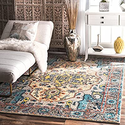 "nuLOOM Corbett Vintage Boho Area Rug, 5' 3"" x 7' 7"", Grey - Made in Turkey PREMIUM MATERIAL: Crafted of durable synthetic fibers, it has soft texture and is easy to clean SLEEK LOOK: Doesn't obstruct doorways and brings elegance to any space - living-room-soft-furnishings, living-room, area-rugs - 61qbwh6ijBL. SS400  -"