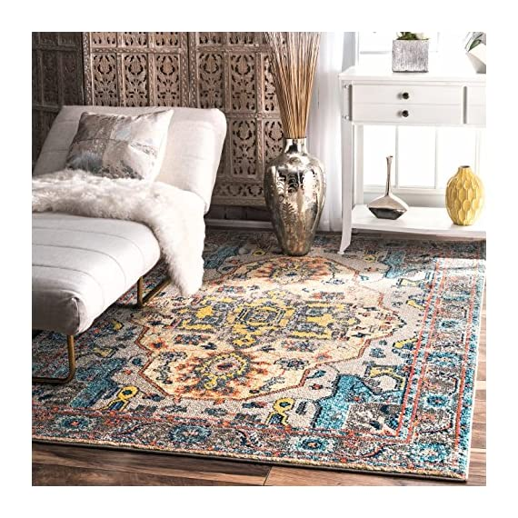 "nuLOOM Corbett Vintage Boho Area Rug, 5' 3"" x 7' 7"", Grey - Made in Turkey PREMIUM MATERIAL: Crafted of durable synthetic fibers, it has soft texture and is easy to clean SLEEK LOOK: Doesn't obstruct doorways and brings elegance to any space - living-room-soft-furnishings, living-room, area-rugs - 61qbwh6ijBL. SS570  -"