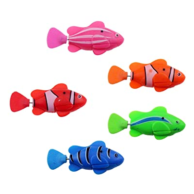 Tipmant Electric Fish Electronic Pets Animal Kids Bath Toys Gifts Swin in Water Tank, Bathtub (5 Fish): Toys & Games