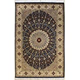 Rugstc 4'6 x 7'0 Pak Persian Area Rug with Silk & Wool Pile - Floral Design | 100% Original Hand-Knotted in Blue,White,Beige Colors | a 4.5x7 Rectangular Double Knot Rug