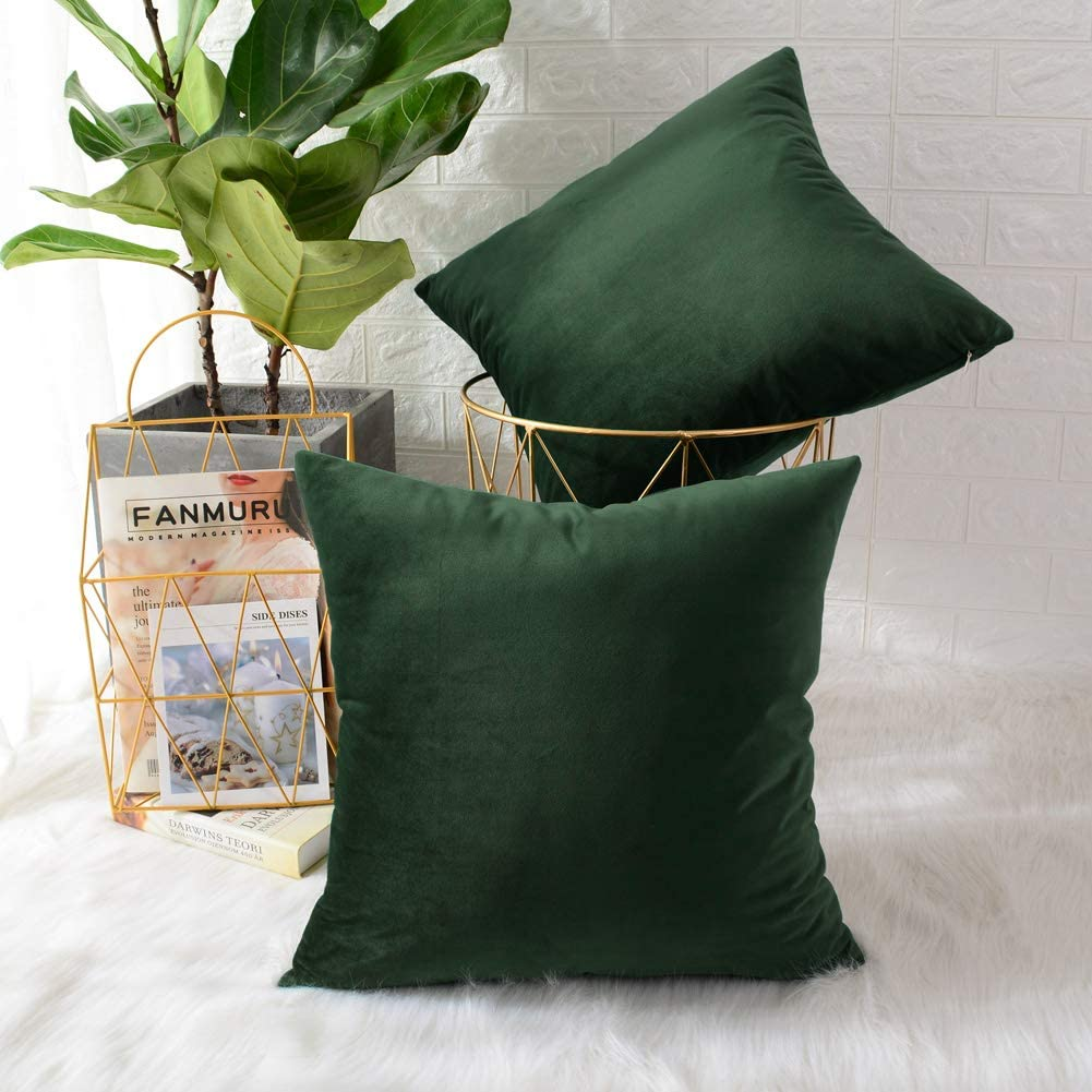 MERNETTE New Year/Christmas Decorations Velvet Soft Decorative Square Throw Pillow Cover Cushion Covers Pillowcase, Home Decor for Party/Xmas 20x20 Inch/50x50 cm, Pine Green, Set of 2