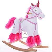 Deuba Balancín Mecedora Unicornio a báscula con Sonido Estructura de Madera Juguete sillín de Montar Peluche niños 3…