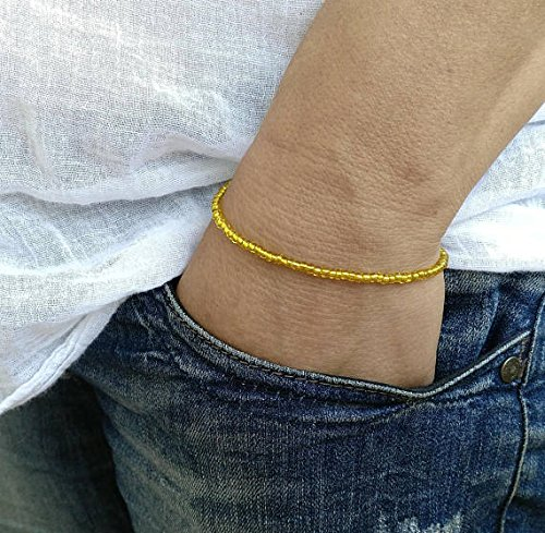 JP_Beads Yellow Bangle Womens Bracelet Mens Bracelet Perle Homme Men Bracelete Bracelet Perle Homme Mens Bracelete Glass Bracelet Bangle 3-4MM