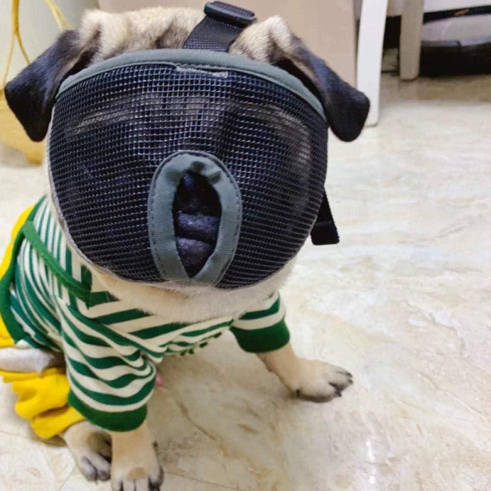 Gulunmun Anti Bark Bite Chew Pug Bozales Bulldog Francés Malla Transpirable Nariz Corta Ajustable Mascota Bozal para Perros Máscara-Gris, L