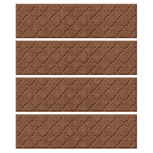Bungalow Flooring Waterhog, Set of 4 Stair Treads, Cordova Collection, Skid Resistant, Catches Water and Debris, Easy to Clean, 8-1/2-Inches by 30-Inches, Ridged Geometric Design, Dark Brown (Cordova Chocolate)