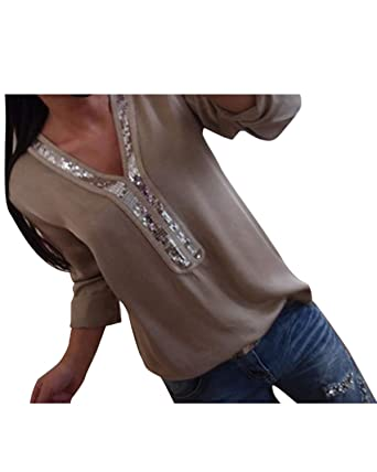 81e5ca763910 YOINS Women Cold Shoulder Cutout Blouses Round Neck Long Sleeved Top Shirt  Pullover with Gloss Sequins