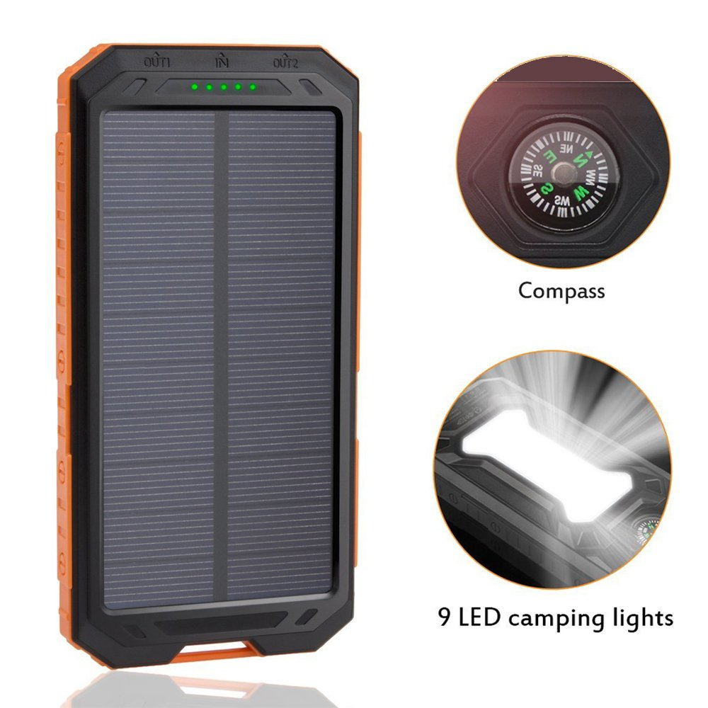 Amazon.com: Solar Charger,Dizaul 5000mAh Portable Solar Power Bank  Waterproof/Shockproof/Dustproof Dual USB Battery Bank for cell phone,iPhone,Samsung  ...