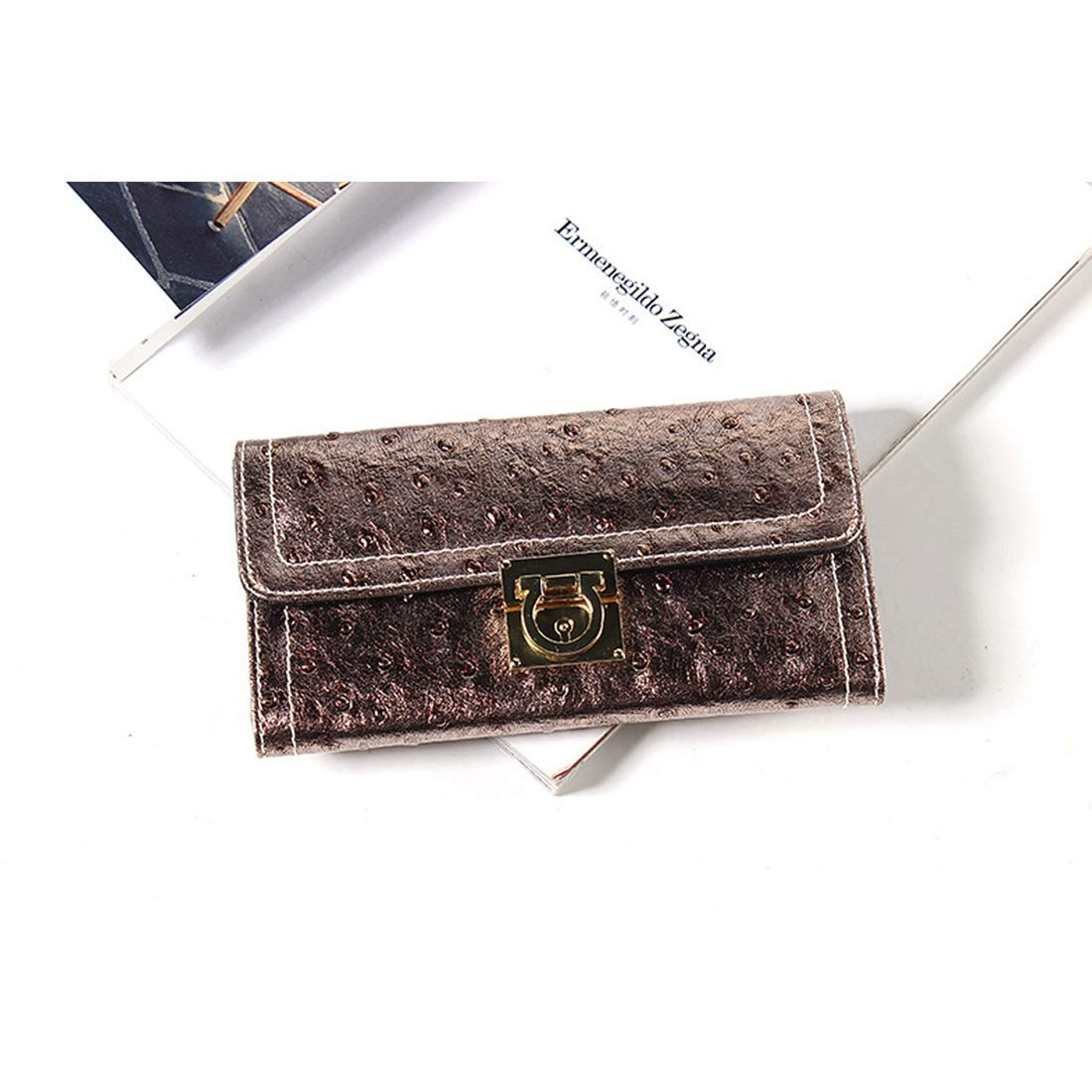 gold Soft Trifold Long Wallet Ladies Leather Cowhide Commuter Commute RFID & Magnetic Skimming Prevention Wallet Handbag (color   Silver)