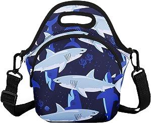 Violet Mist Unicorn Neoprene Insulated Lunch Bag Tote Large with Extra Pocket Waterproof Detachable Adjustable Shoulder Lunchbox Handbags (Shark 6)