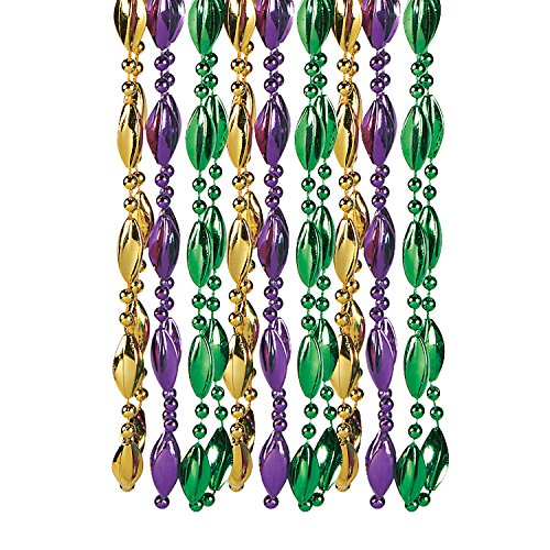 Fun Express - Swirl Mardi Gras Beads for Mardi Gras - Jewelry - Mardi Gras Beads - Misc Mardi Gras Beads - Mardi Gras - 12 Pieces