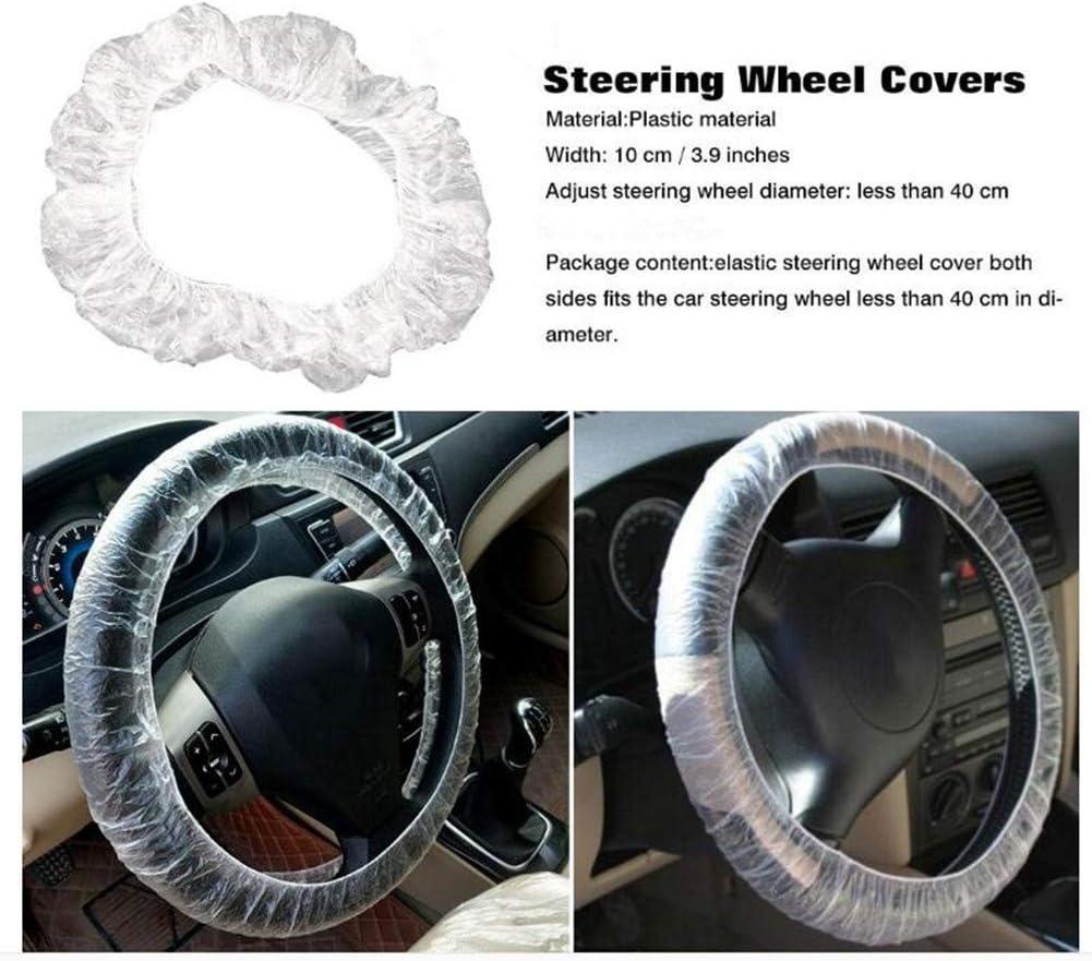 Disposable Steering Wheel Covers Universal Elastic Trim Anti-dust Truck Car Steering Wheel Plastic Protector Sleeve Films,White 100 Pieces