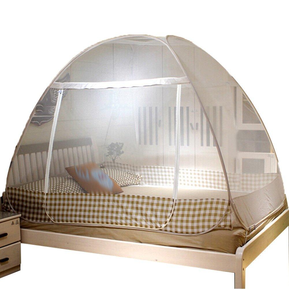 Moskitonetz Moskitonetzen Fliegennetz Mückennetz Heimtextil Zipper Bottom Keine Notwendigkeit, Falte Zu Installieren Eintürige Stahl 3 Größen Tingting (Farbe   Braun, Größe   1.8M)