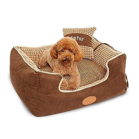 DAN Cama para mascotas de lujo para gatos y perros pequeños medianos con cojín desmontable suave