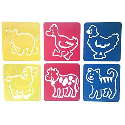 Mike Home 6 Piece Assorted Color Drawing Painting Stencils Templates for Kids Christmas Decoration