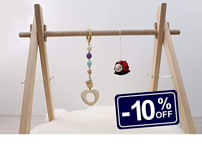 Amazon.com: Wooden baby gym frame, foldable play gym, activity gym ...