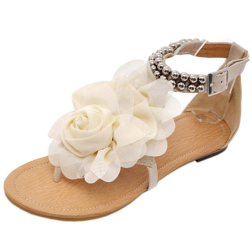 Bdawin Damen Sandalen Bouml;hmen Stil Blume Perlen Sandaletten Zehentrenner Rom Flip Flops  37 EU|Beige