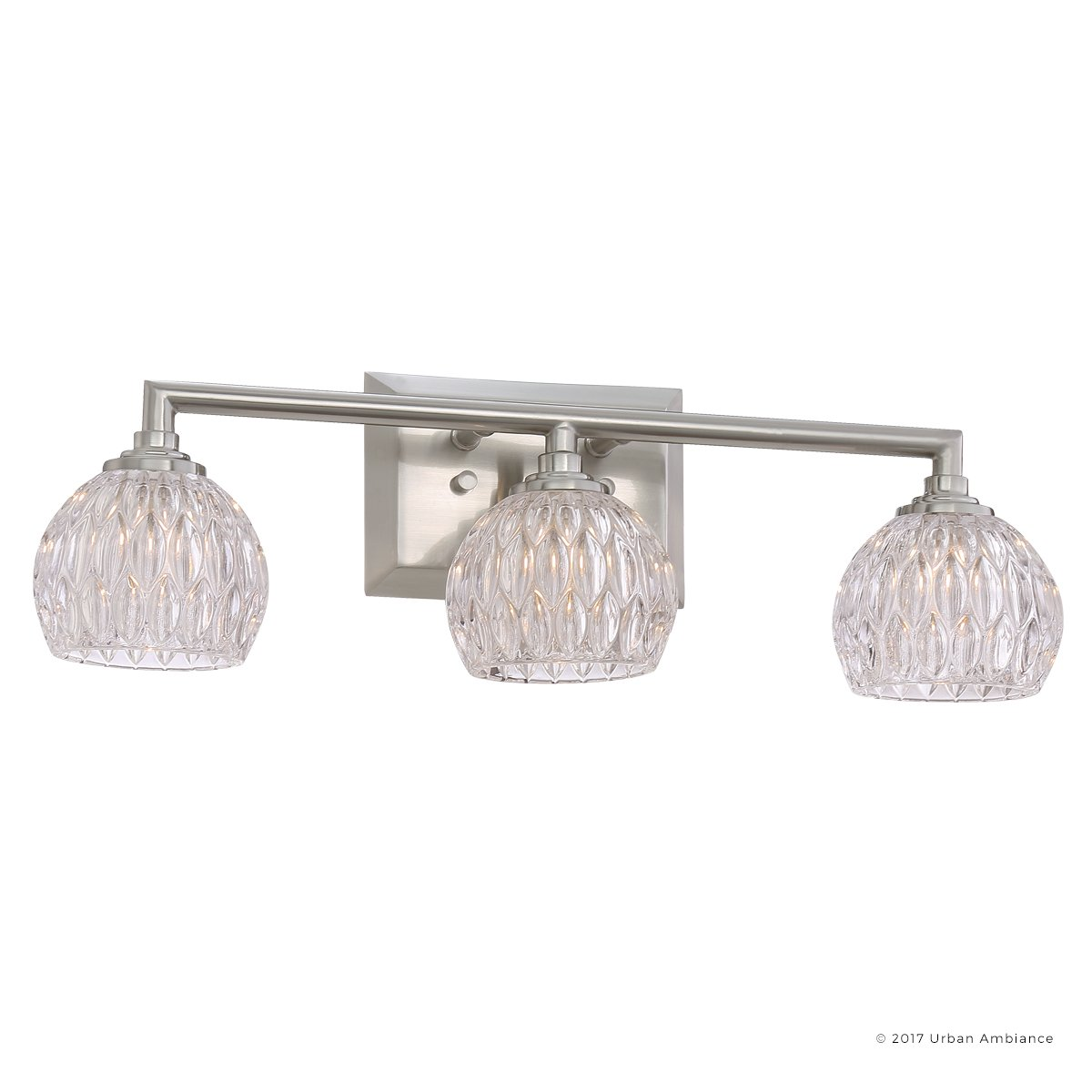 Luxury Crystal LED Bathroom Vanity Light, Medium Size: 6.25''H x 20''W, with Classic Style Elements, Brushed Nickel Finish and Marquis Cut Glass Shades, G9 LED Technology, UQL2621 by Urban Ambiance by Urban Ambiance (Image #1)