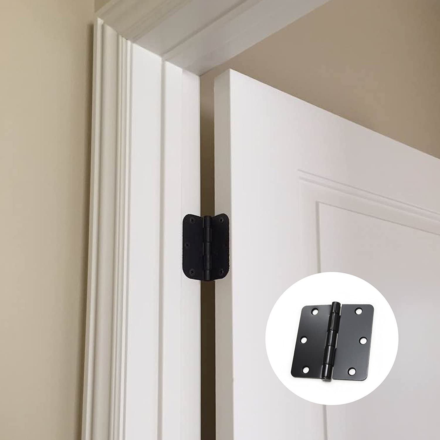 Gobrico 30 Pack of Black 3-1//2 Interior Hinges for Doors with 1//4 Radius Corner 6 Holes