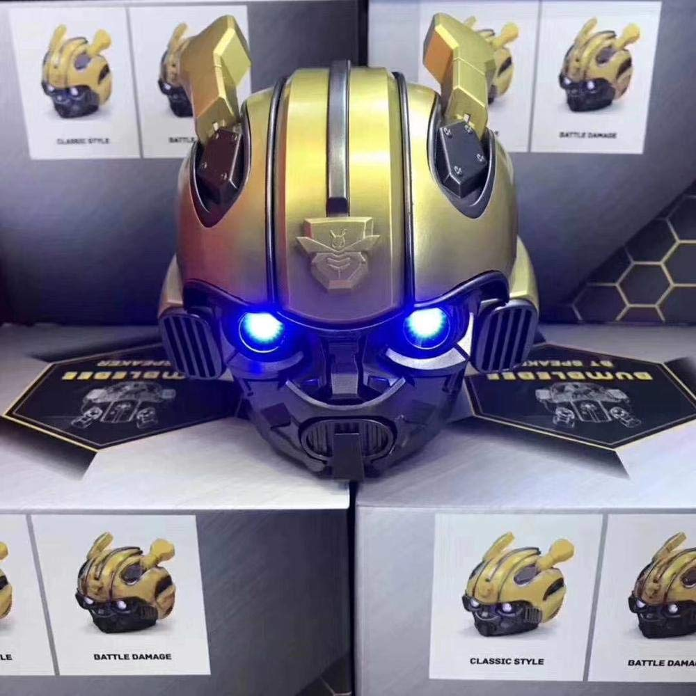 RONSHIN Portable Bluetooth Speakers,Bumblebee Helmet Bluetooth Speaker Fm Radio USB Mp3 TF Smart Subwoofer Blue Tooth 5.0 Portable Mini Wireless Stereo Loudspeakers by RONSHIN