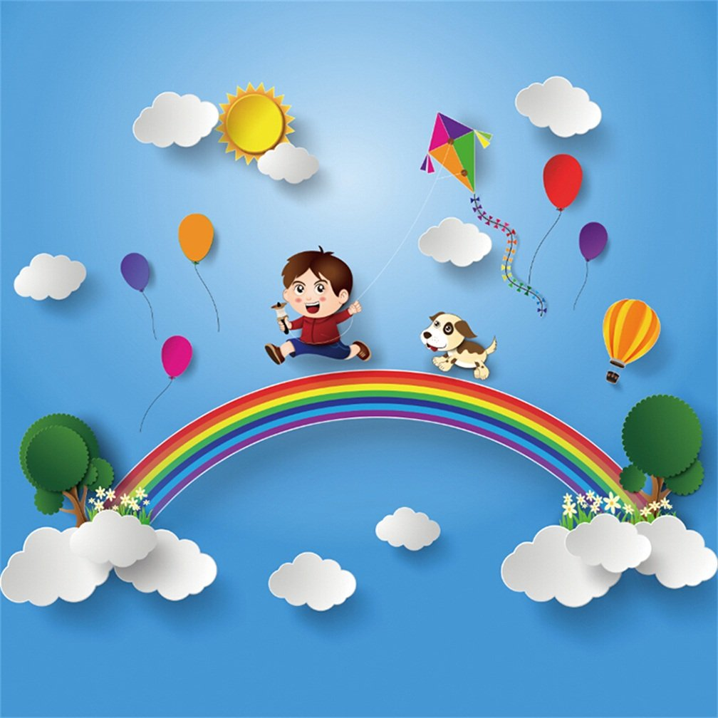 csfoto 5 x 5ft背景for Kid Playing With Kite犬レインボー写真バックドロップCartoon Dreamy Happy Sky Sunホットエアバルーン部屋装飾フォトスタジオ小道具子供ベビーPortraitビニール壁紙   B07CYY6QCM