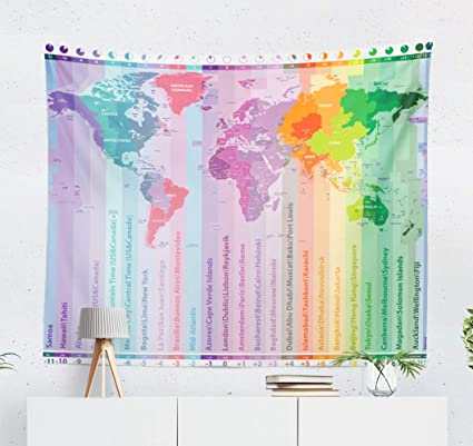 Amazon.com: Kua Tapestry Wall Hanging World Time Map with ... on countries border belize, countries border bangladesh, countries border brazil, countries border armenia, countries border venezuela, countries border paraguay, countries border croatia, countries border guatemala, countries border thailand, countries border ireland, countries border argentina, countries border bhutan, countries border israel, countries border europe, countries border czech republic, countries border france, countries border lebanon, countries border portugal, countries border colombia, countries border ethiopia,