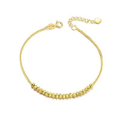 603b80ac Amazon.com: SISGEM 18k Yellow Gold Bracelets for Women, Real Gold ...