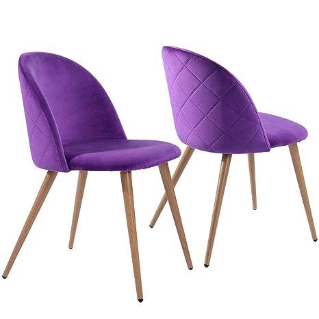 Coavas sillas de Comedor de Terciopelo Conjunto de 2 (púrpura)