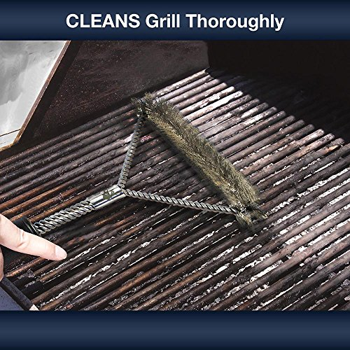 """Grill Brush Set by zbi Products - 2 Stainless Steel Heavy Duty BBQ Brushes 12"""" and 21"""" - MONEY BACK GUARANTEE"""
