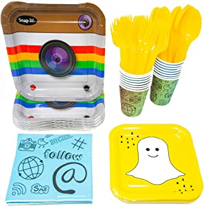 Social Media Party Supplies (113+ Pieces for 16 Guests!), Birthday, Tableware, Whether You're a Fan of Facebook, Snapchat