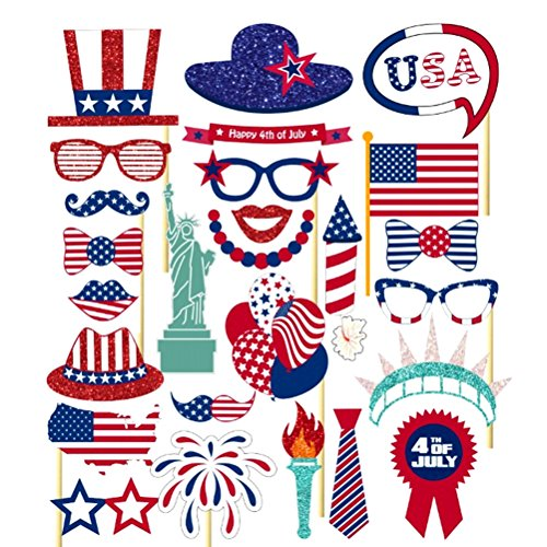 Tinksky 4th of July Photo Booth Props DIY Kits for Independence Day Party Favors Pack 26pcs