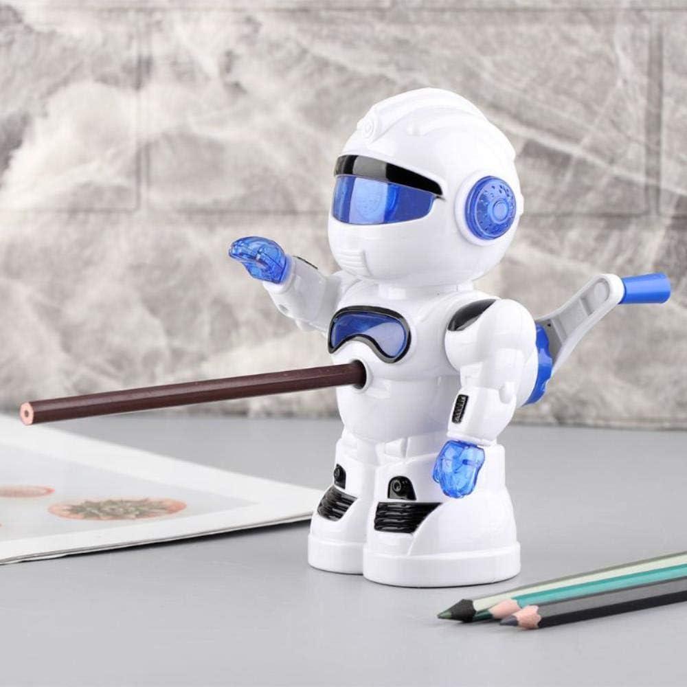 Sacapuntas de lápiz manual con lindo diseño de dibujos animados de robot para niños, niños, estudiantes, útiles escolares, rojo: Amazon.es: Oficina y papelería