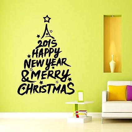 Vinyl Wall Decals Christmas Tree Happy New Year Santa Sticker Home ...