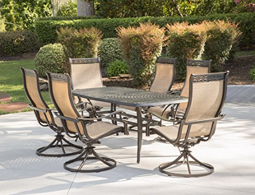 Hanover MANDN7PCSW-6 7 Piece Dining Set with 6 Rockers & Dining Table Outdoor Furniture, Tan (Sling Patio Cast Aluminum Furniture)
