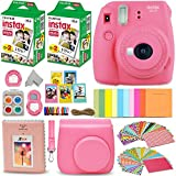 Fujifilm Instax Mini 9 Instant Camera FLAMINGO PINK + Fuji INSTAX Film (40 Sheets) + Accessories Kit Bundle + Custom Case with Strap + Assorted Frames + Photo Album + 60 Colorful Sticker Frames + MORE