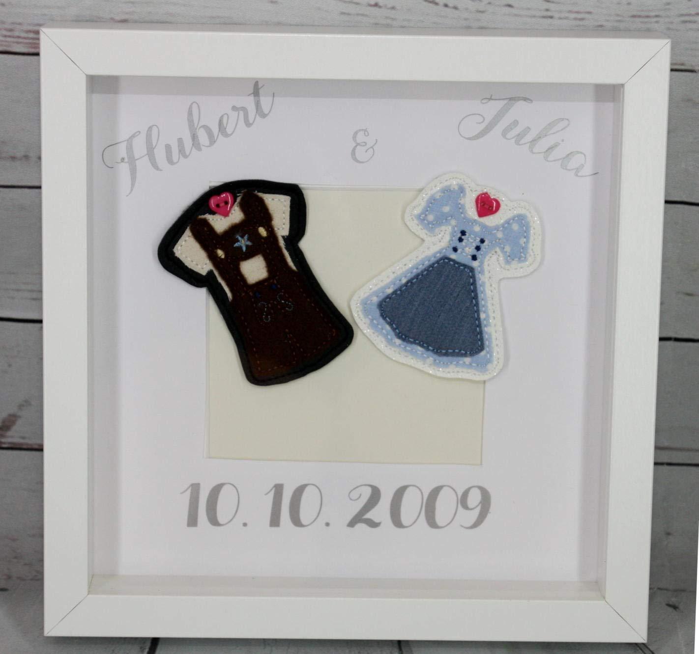 Bilderrahmen zur Hochzeit Hochzeitsgeschenk Personalisierbar Tracht ...