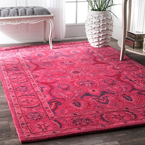 nuLOOM 100-Percent Wool Hand Tufted Kimberly Overdyed Style Area Rug, 6-Feet by 9-Feet, Pink by nuLOOM